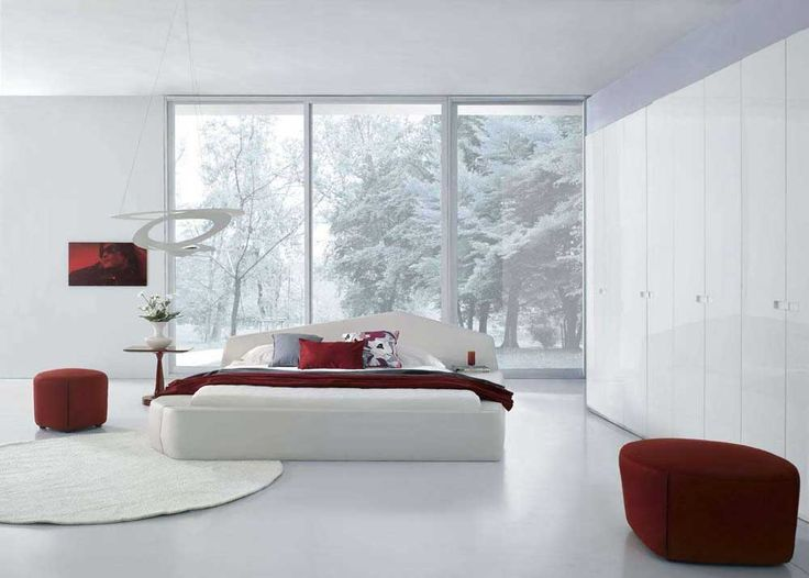 Large Modern Bedroom Cupboards with white plain floor and red laminated fabric ottoman plus white rectangle bedsheet added large frame glass window