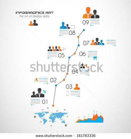 Timeline to display your data in order with Infographic elements technology icons,  graphs,world map and so on. Ideal for statistic data dis...
