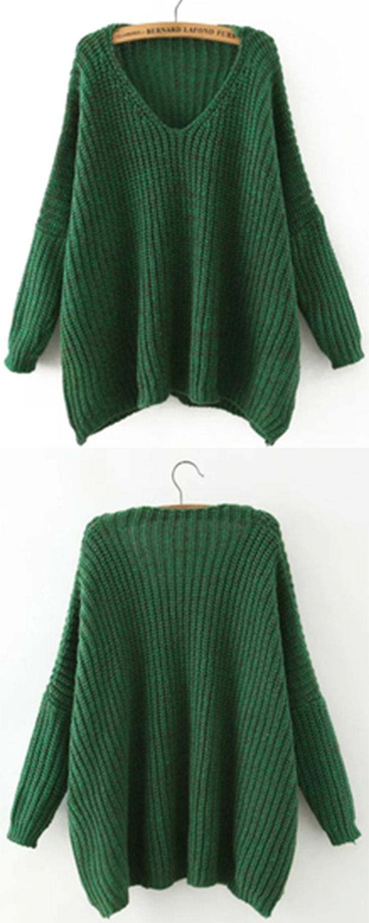 Oversized sweaters are never absent for fall & winter casual outfit .This loose chunky sweater has batwing sleeve&v ncek neck ,so fashion as it !Also there colors for you!