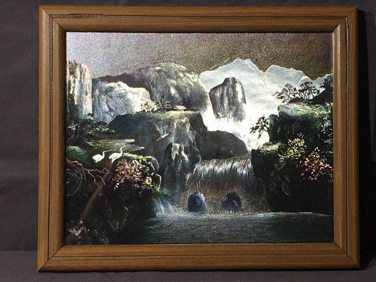Vintage metallic picture o jong k waterfall art decorative foil like artwork collectible wall hanging silver gray framed wall art