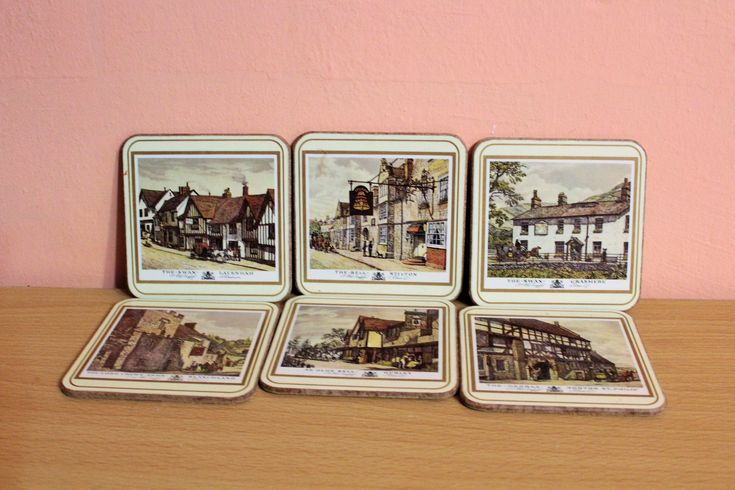 Vintage Pimpernel Old English Inns Coasters, Set of 6 England Cork Coasters by Grandchildattic on Etsy