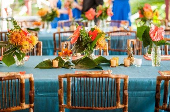 Maui Destination Wedding Decor. Tropical Wedding Flowers & pineapple.