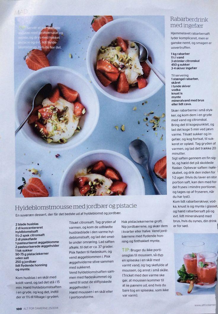 Hyldeblomstmousse med jordbær og pistacie