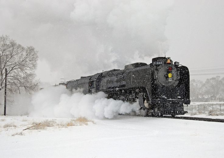 Union Pacific 4-8-4 #844 steams through snowy Winnemucca, Nevada with a special excursion during an early spring storm on April 15, 2009. Drew Jacksich photo.