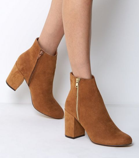 Wide Fit Tan Suedette Heeled Boots