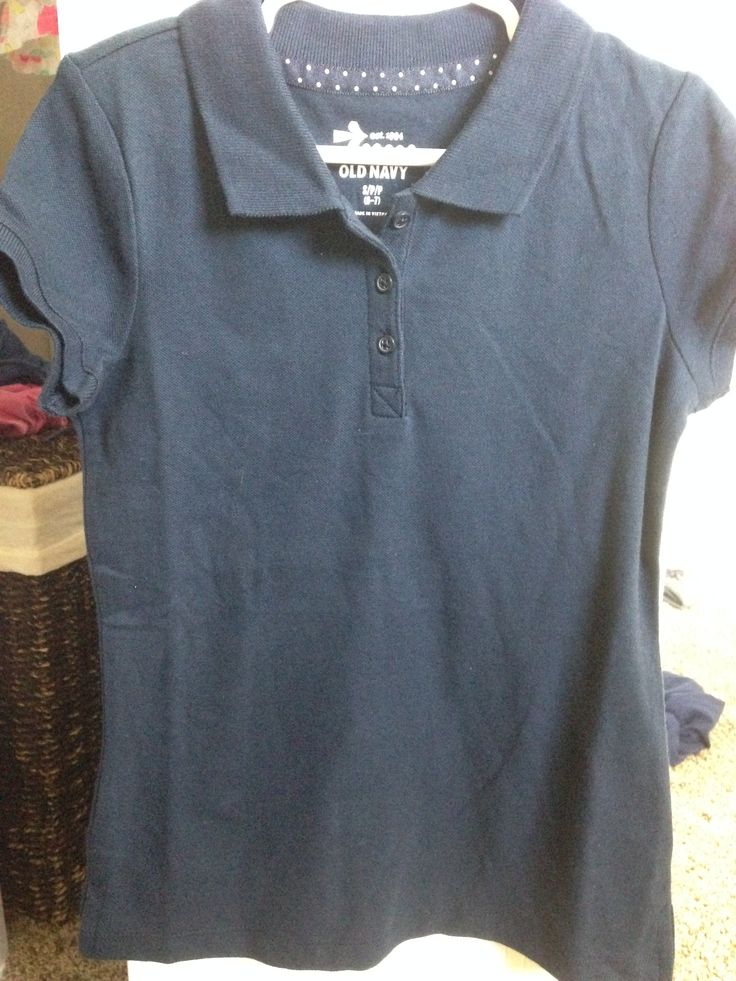 Old Navy - Navy Blue Short-Sleeve Polo (Bought Two) A. Old Navy - $5 each B. None C. These shirts are soft/comfy and not too constricting for my daughter, so they work well for everyday uniform wear!