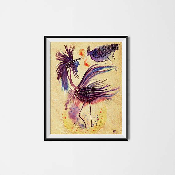 Bird Talk Art Print Wall Art Illustration Watercolor Gift