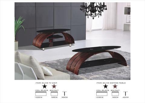 Coffee Table Walnut Veneer Black Glass Top Designer Coffee Table Wood Furniture