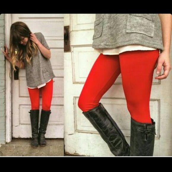 Thick leggings Red and gray leggings. $7 each or both for $10. Nwot Pants Leggings