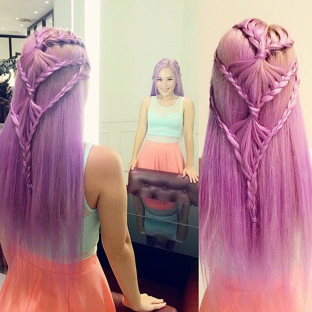 xiaxue: Touched up my purple dye today and @findvanessa tied this awesome (and very complicated looking) braid for me!!! She's always so innovative! And thank you @oliviakoh90 for the dependably fantastic colour job as usual. Lucky me!