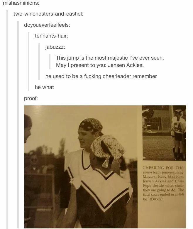 Jensen Ackles was a cheerleader ❤