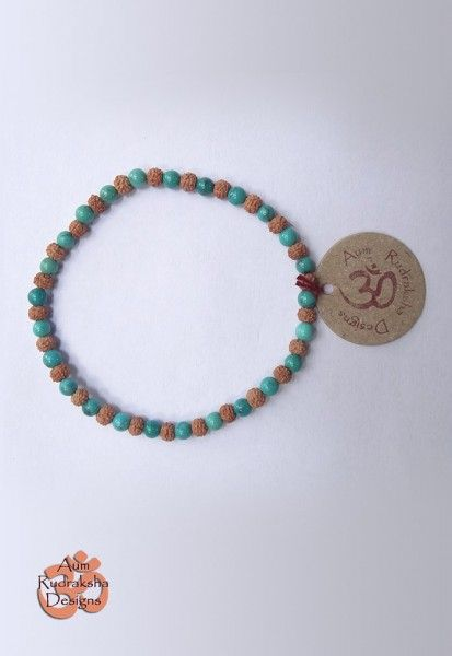 Small Beads Bracelet W/ Turquoise  #aum #rudraksha #bali #bracelet #jewellery #beads #beautiful #turquoise