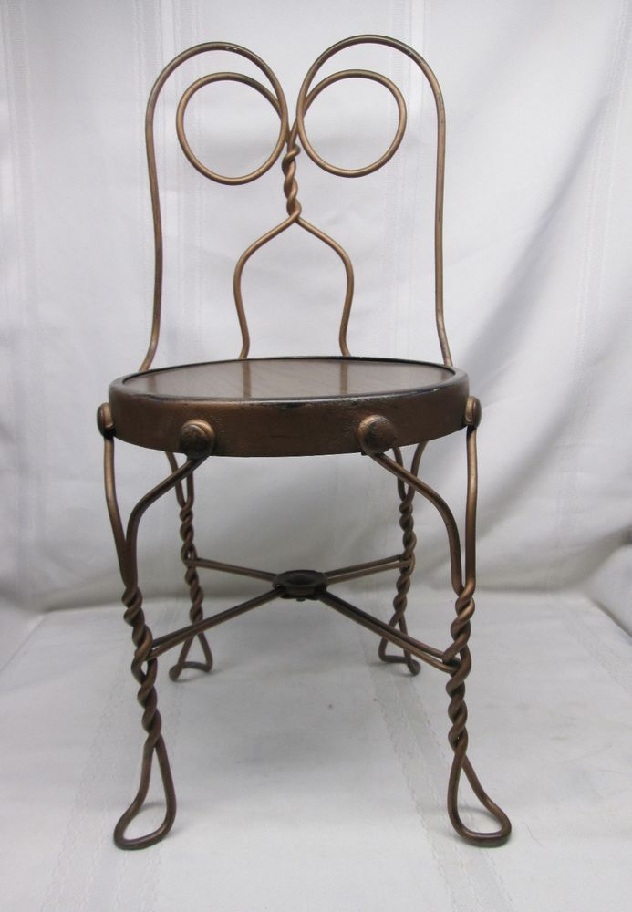 Antique Iron Chairs Part - 30: Vintage Antique Ice Cream Parlor Child Kid Wrought Iron Wire Chair Stool  Seat 77