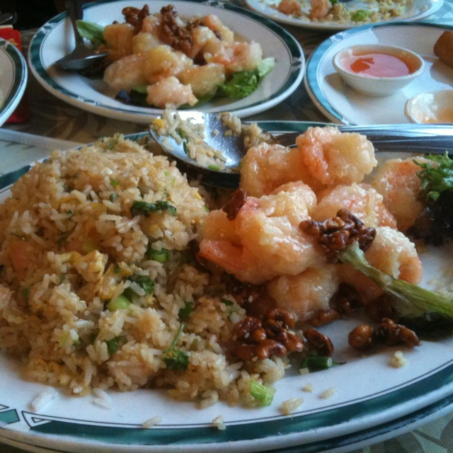 Fried rice and honey walnut shrimp!! Yummy House in Tampa FL
