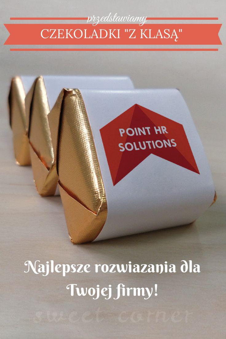 """Czekoladki """"Z KLASĄ"""" wykonane dla firmy Point HR Solutions"""