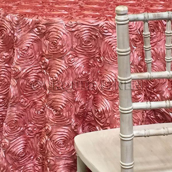 Rose Satin (3D) Tablecloth - Dusty Rose | Embroidered ...