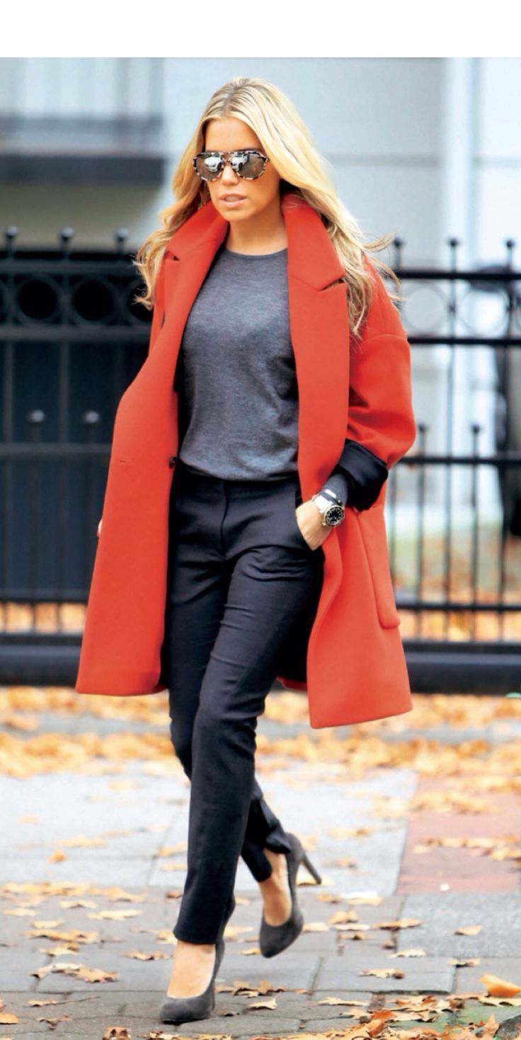 Sylvie Meis. I like the orange coat.