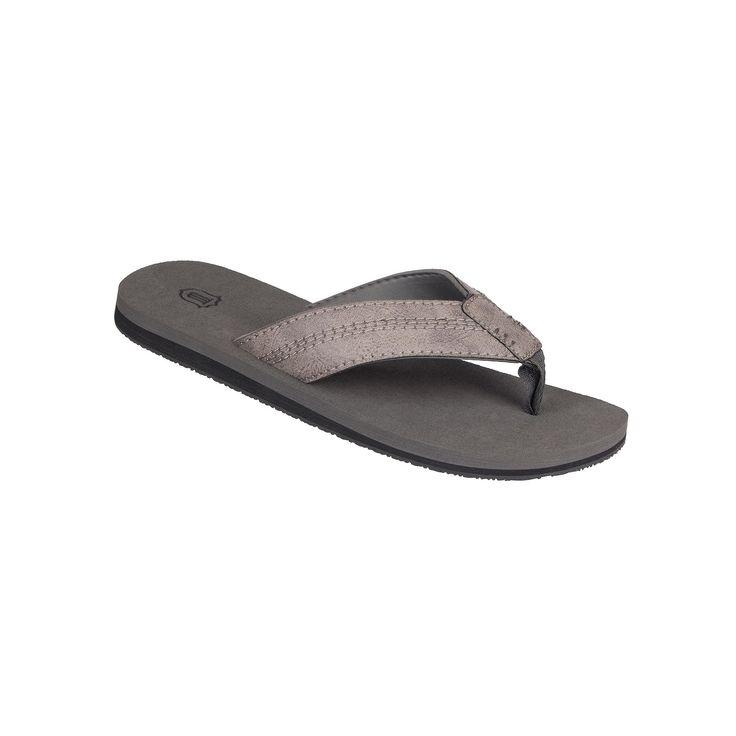 Men's Wembley Stitched Thong Flip-Flops, Size: Medium, Grey