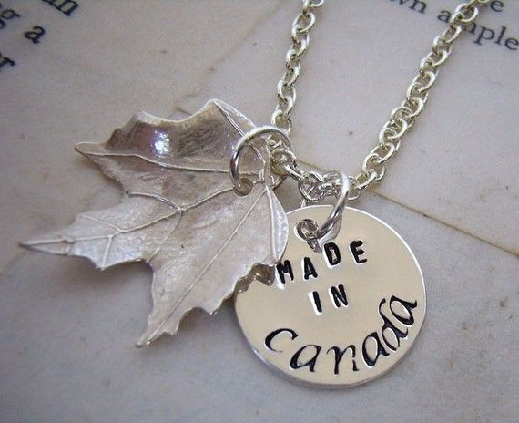 """Made in Canada"" necklace (pinned by redwoodclassics.net)"