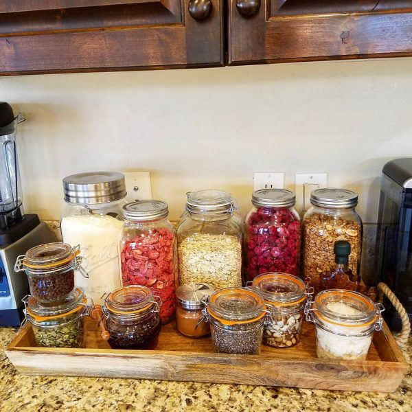 There were so many questions about this post, hopefully I answer all of them here: Jars are KILNER brand, although any glass jar such as canning jars work GREAT for storage. The white stuff is protein powder. I like Jay Robb whey - use YOUR fave. Chocolate chips are Lily's brand sweetened with...