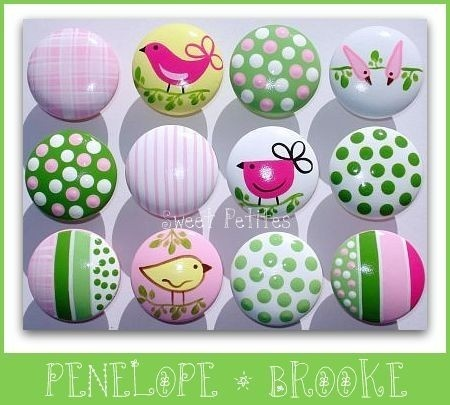 Hand Painted Knob Dresser Drawer Or Nail Cover Penelope Birds Stripes Polka Dots
