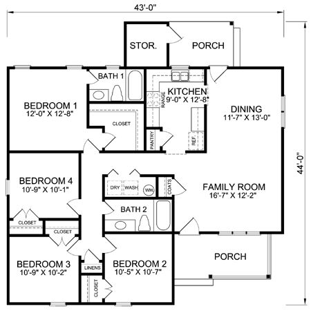 31 best our house images on pinterest small houses for Four bedroom house layout