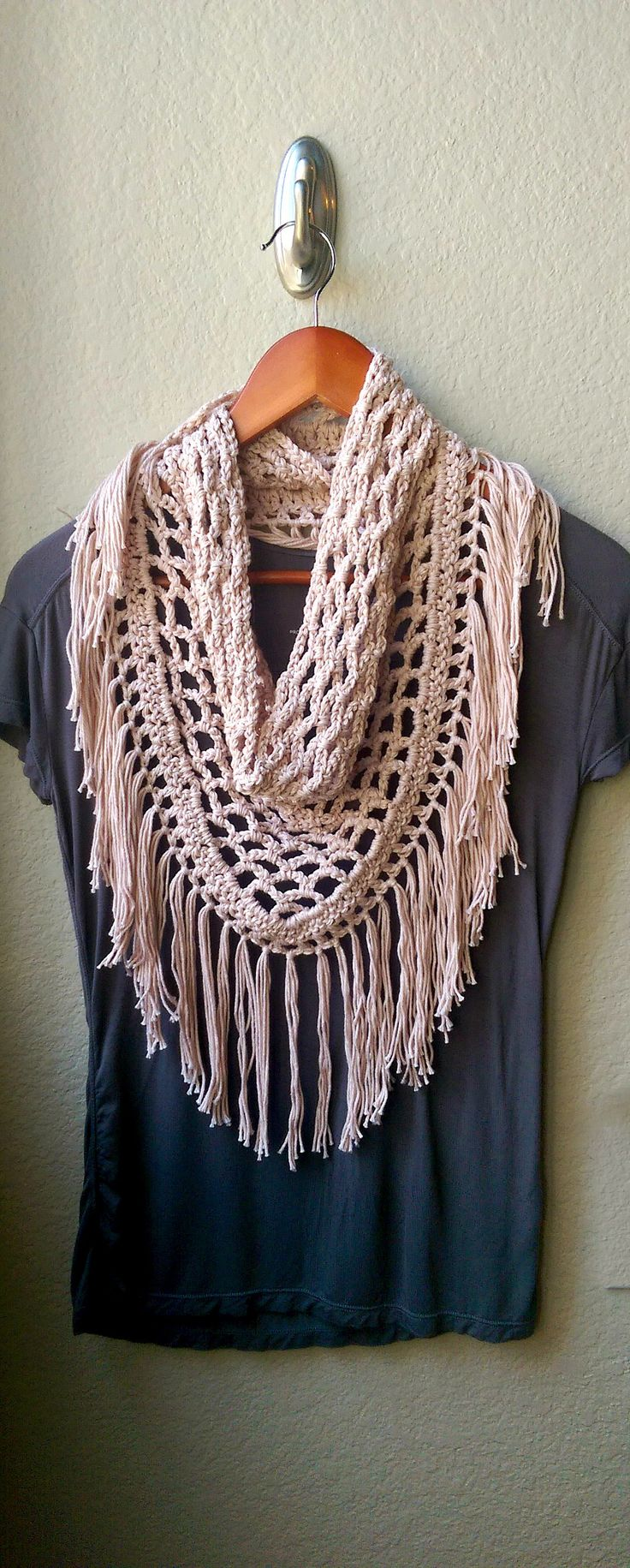 Light Crochet Fringe Scarf Pattern. Triangle Mesh Crocheted Scarf
