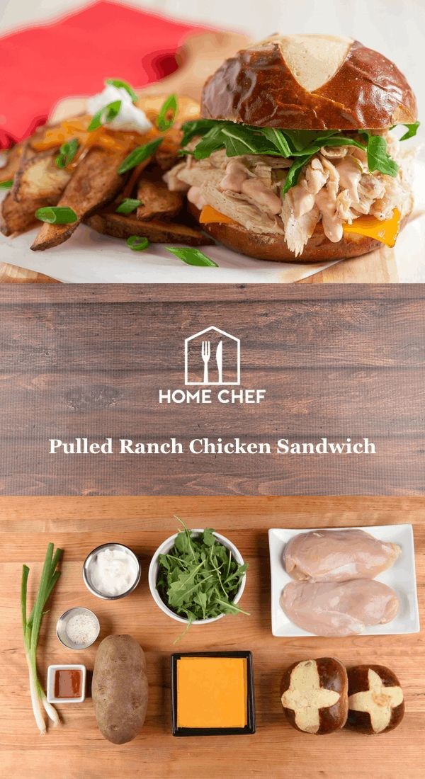 "Now here's something new. We use zesty ranch seasoning to flavor a moist pulled chicken breast between a pretzel bun. We top it with melty cheddar and sour cream tinged with hot sauce for a uniquely satisfying flavor experience. Served next to ""loaded"" potato wedges, this isn't sandwich business as usual, but it should be."