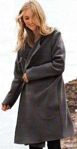 Выкройка простого серого пальто без воротника