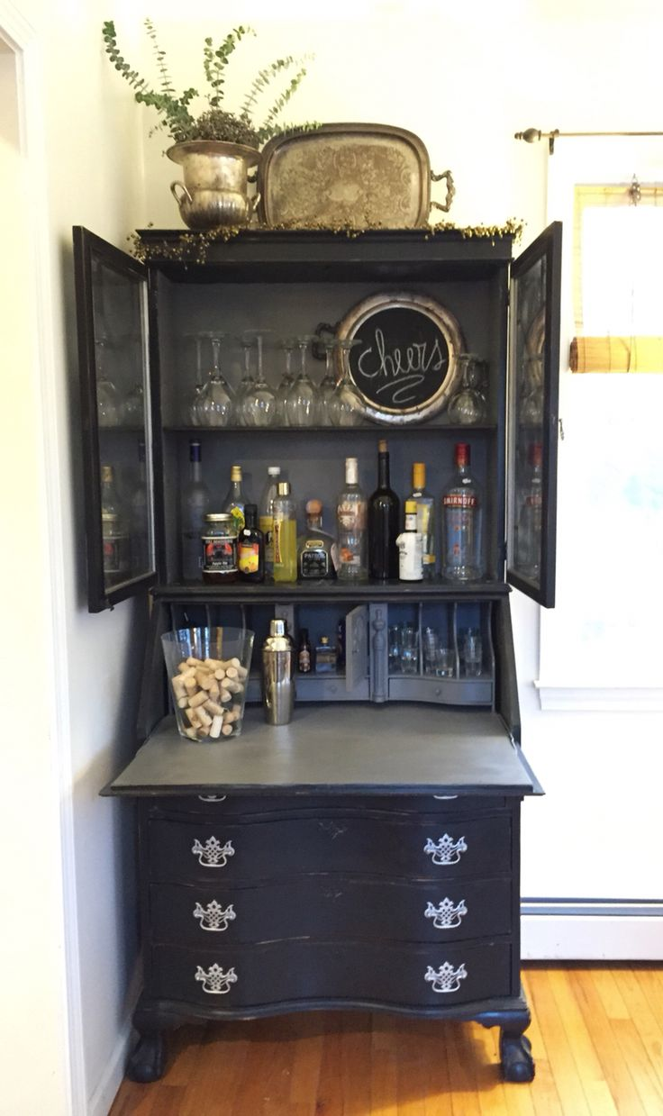 My Vintage Secretary Painted Black Shabby Chic And Repurposed As A Side Bar Country Furniturekitchen