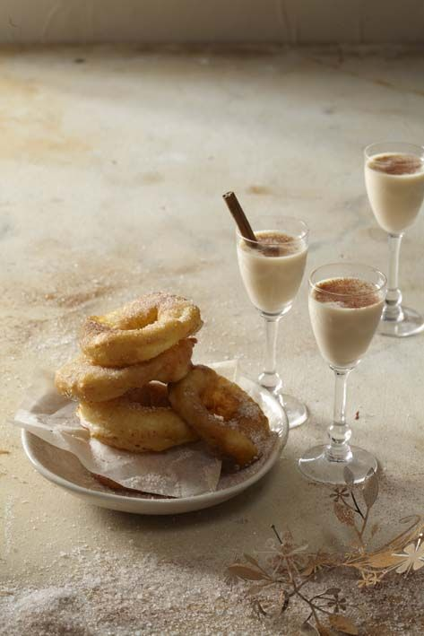 Apple fritters with milk tart shooters