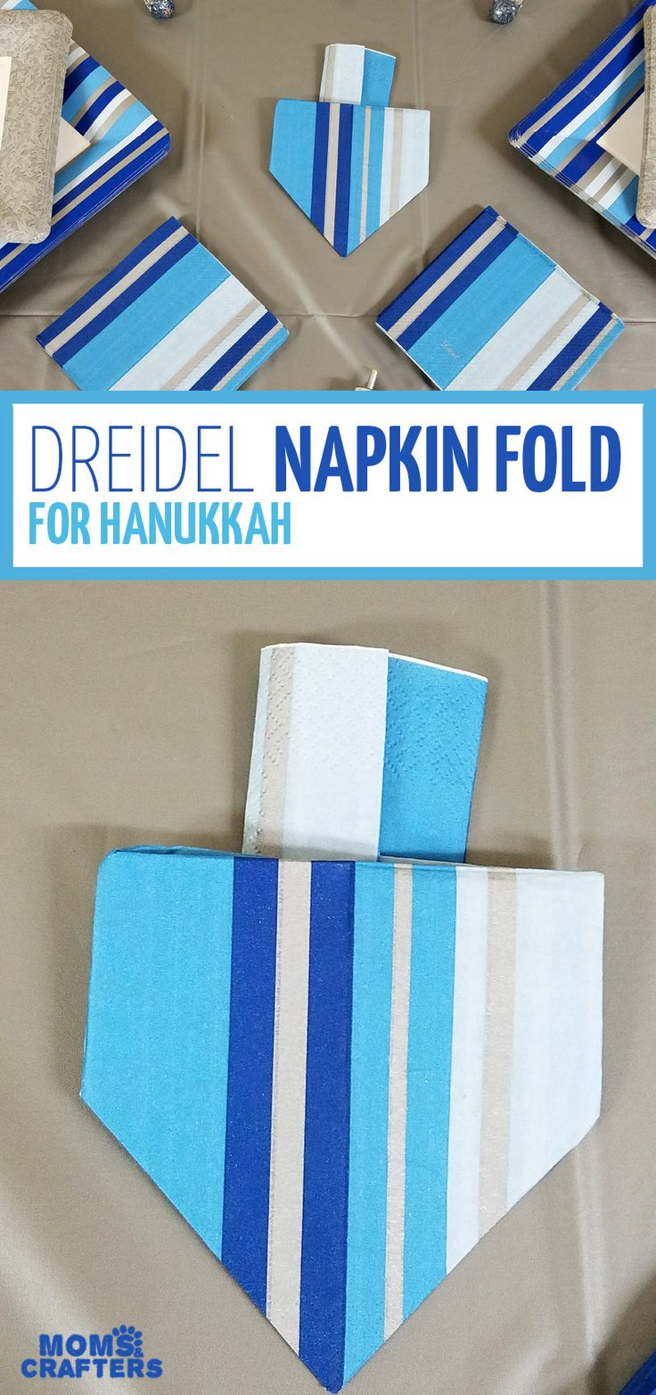 I love this dreidel napkin fold tutorial – what a great idea for a Hanukkah tabl…