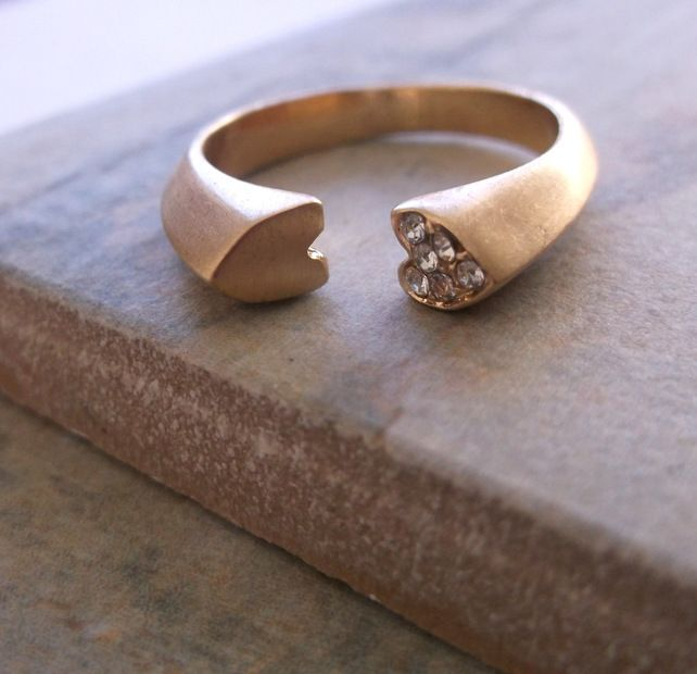 Gold Plate and Crystal Open Heart Ring £20.00