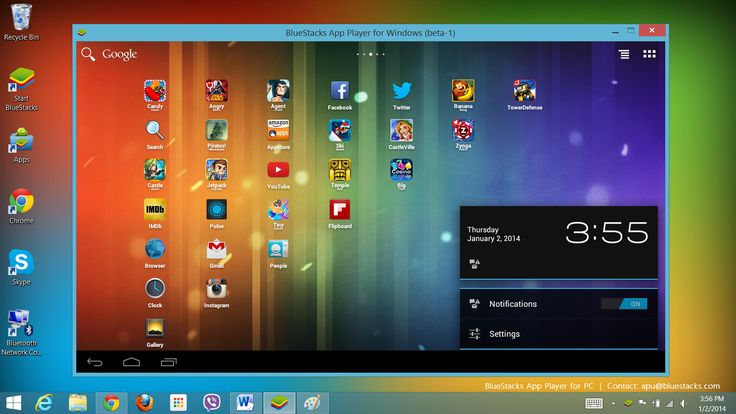 """BlueStacks is a legitimate, free and easy to install program for Mac or Windows PC that enables anyone to run Android OS (Icecream Sandwich) and download over 450,000+ Android apps without the need for """"dual-booting"""", allowing Mac and Windows users to enjoy the full experience of an Android device!  Amazingly, the Android apps even appear on the Windows 8 Start screen."""