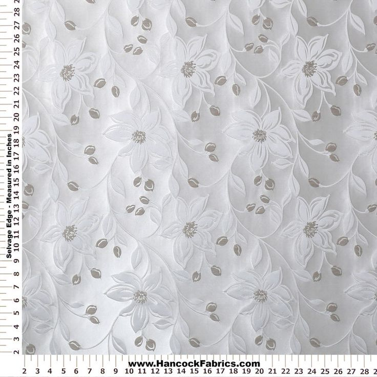 Messaline Floral Cream And Silver Polyester Linen Cotton Fabric