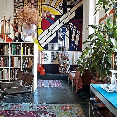 A roy lichtenstein carpet dominates one wall of designer and architect gae aulentis milan living room