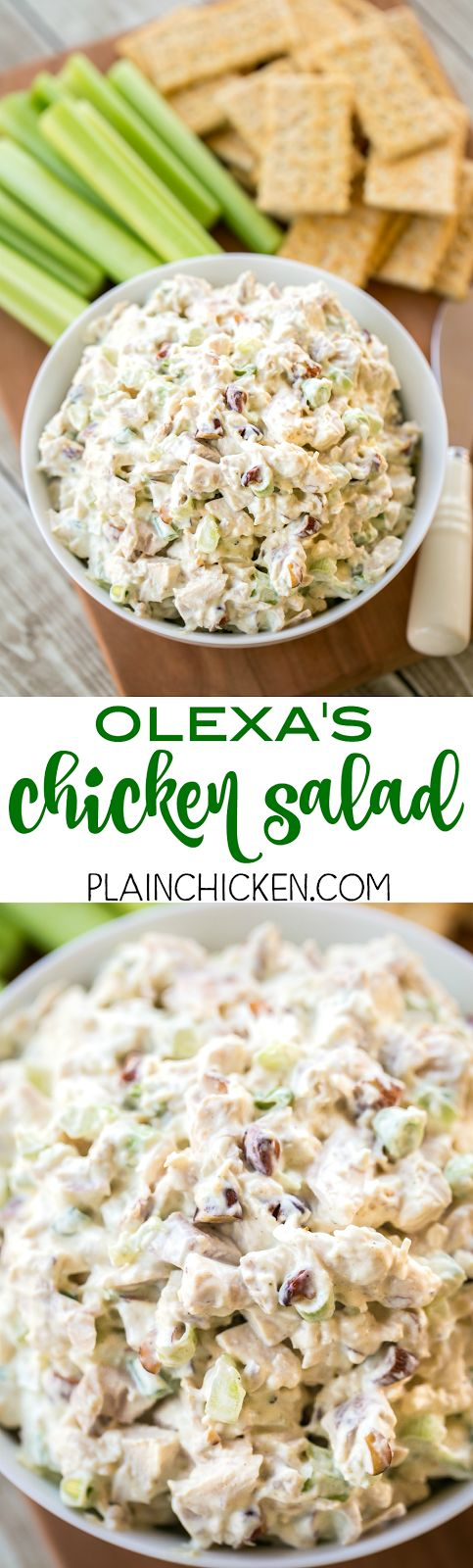 Olexa's Chicken Salad - This is THE BEST chicken salad EVER!! SO good!!! Chicken, mayo, sour cream, celery, curry, salt, pepper, lemon juice, green onions and smoked almonds. Copycat recipe from the Birmingham, AL restaurant. I think this version is better than the original. Keeps for up to 5 days in the fridge.
