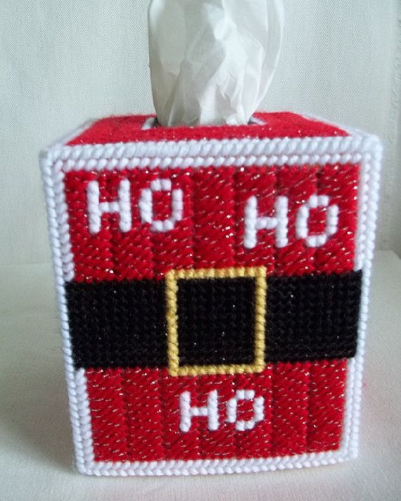 Christmas Santa Tissue Box Cover Plastic by KarensCrochetCottage
