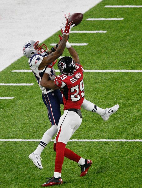 C.J. Goodwin #29 of the Atlanta Falcons breaks up a pass for Malcolm Mitchell #19 of the New England Patriots in the first half during Super Bowl 51 at NRG Stadium on February 5, 2017 in Houston, Texas.