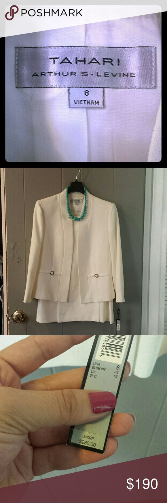 Tahari:White Skirt Suit Tahari:White Skirt Suit. NWT  Add the necklace for $10 Tahari Jackets & Coats Blazers
