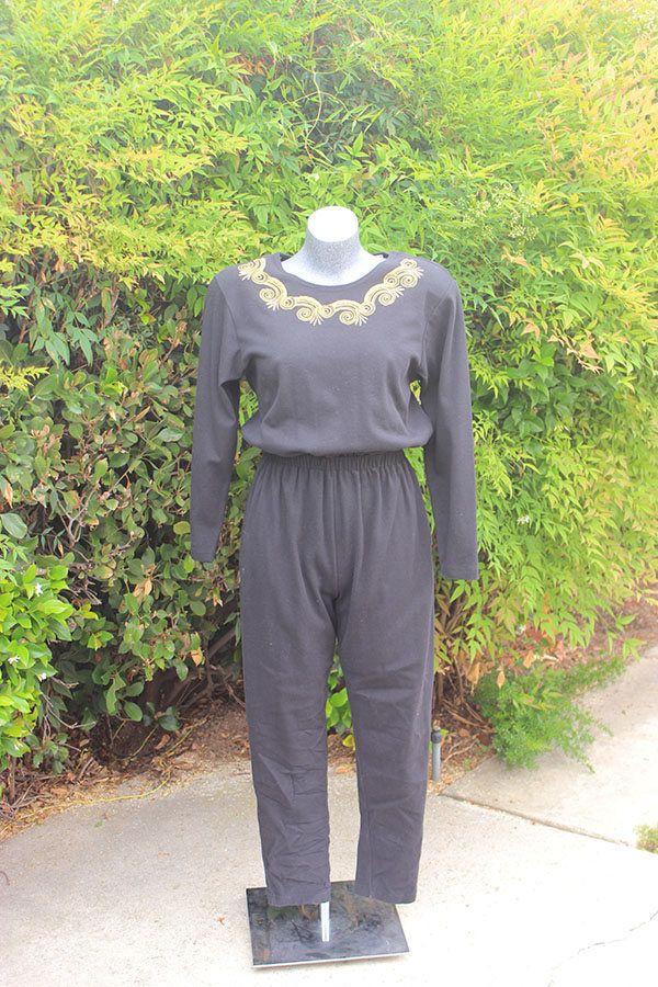 Vintage Jumpsuit, FADS, Black, Embroidery, Knit Pants, Long Sleeve, Vacation, Size Large by StyleStingyVintage on Etsy
