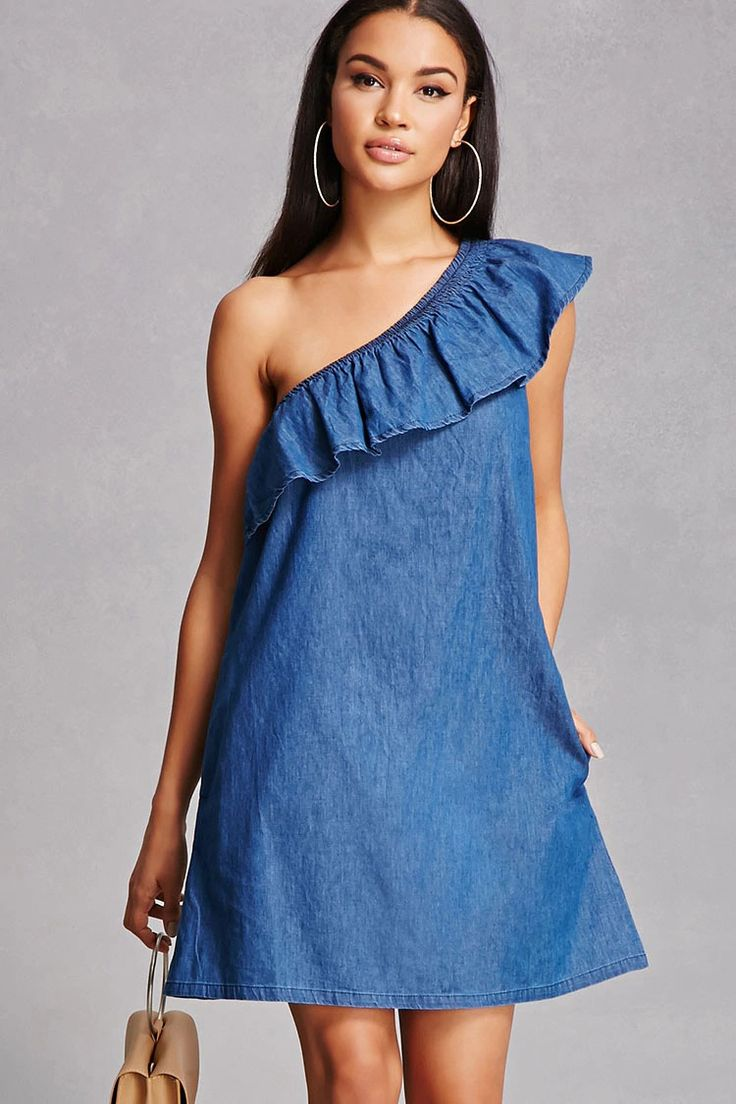 A denim swing dress featuring an elasticized one-shoulder design, a flounce layer that leads into one short sleeve, and on-seam pockets.<p>- This is an independent brand and not a Forever 21 branded item.</p>