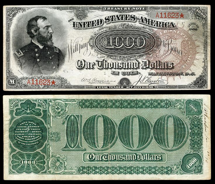 $1,000 Treasury note (1890–91), Series 1890, Fr.379a, depicting George Meade.
