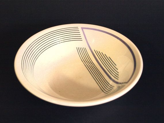 Vintage Mod Stripes Cereal Bowls - Pair of EIT Post Art Deco Modern Soup Bowls - Black & Purple - Made in England