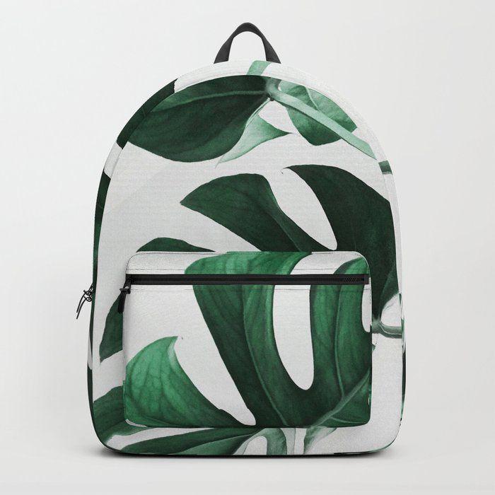 Monstera Leaves Plant Green Scandinavian Minimal Modern Wall Art Backpack Knapsack By Scandi Home Standard In 2020 Monstera Backpacks Print Quality