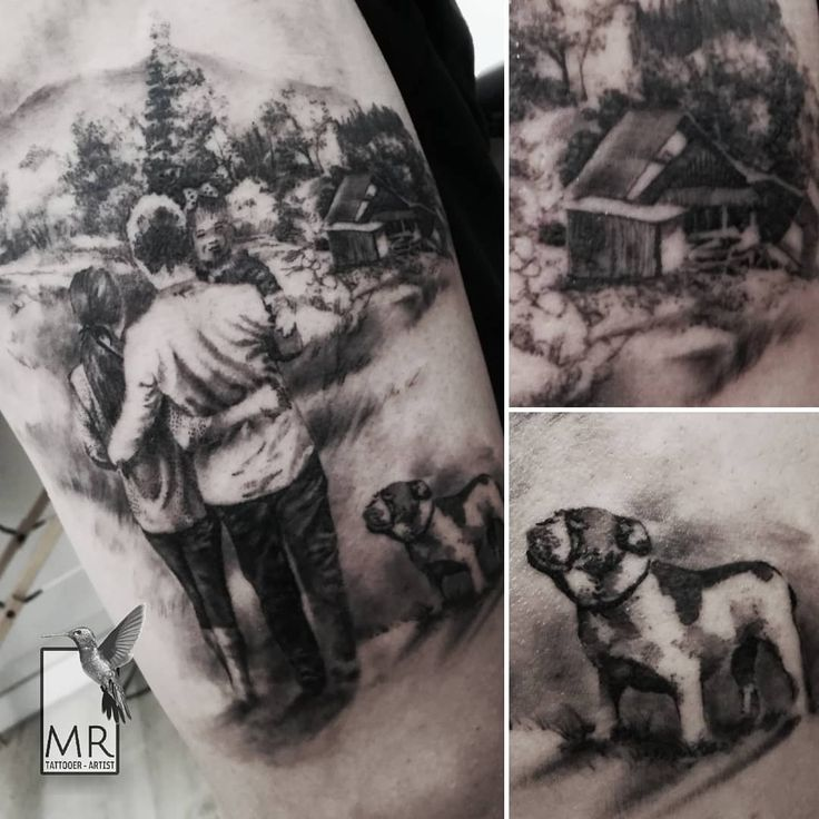 Family portrait - landscape black and gray tattoo on leg  Done with: @kwadron cartridges #familytattoo #bngtattoo #family #landscapetattoo #bestrealistictattoos #realistictattoo #tattoofamily #familyportrait #romatattoo #tatuatoreroma #tatuatoriitaliani #tatuatoriroma #inked #romatattoo #minitattoo #iltatuaggioitalia #tatuaggioitalia #sullenart #dogtattoo #tatuaggiorealistico