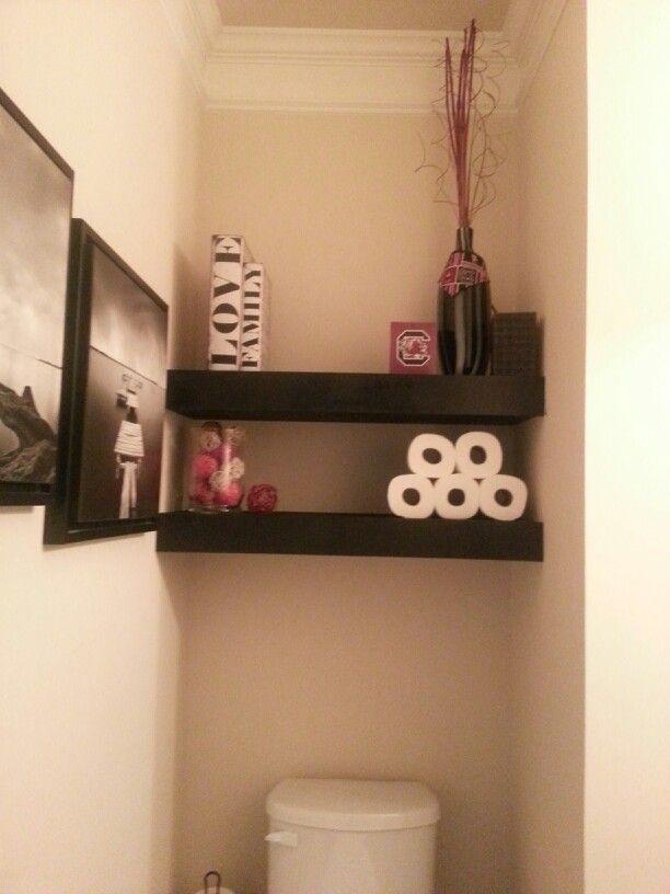 Small powder room shelves for easy storage