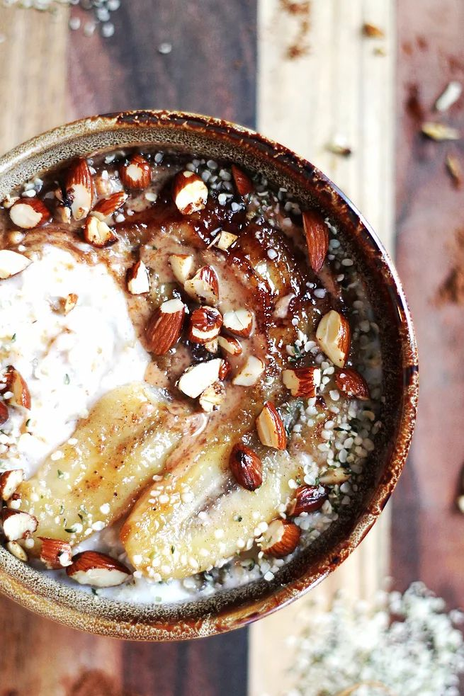 Fried Banana & Almond Maple Porridge | TWO SPOONS | Plant-based recipes worth sharing