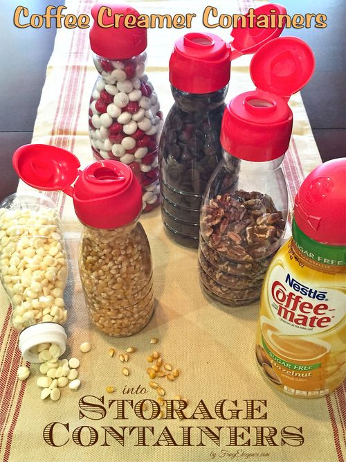 Simple Idea for Organizing- Using those Coffee Creamer Containers! Those great flip-top-ready-to-pour tops are terrific. #organizing #pantryorganizing #storagecontainers #coffeemate