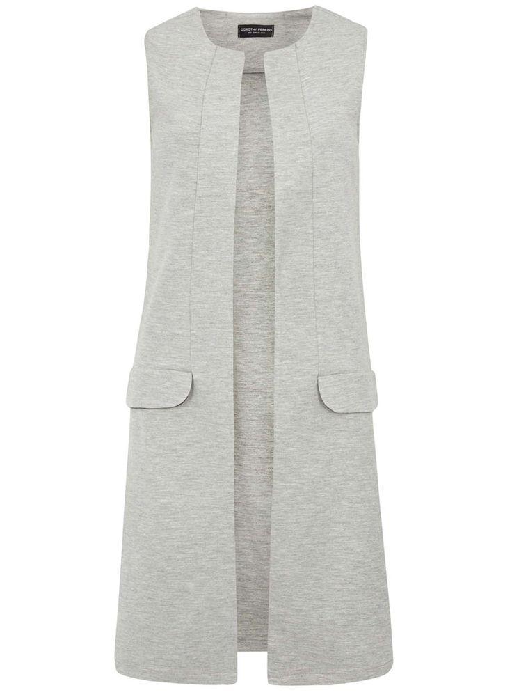 Grey Sleeveless Jersey Jacket - Dorothy Perkins